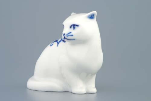 Cibulák Kočka sedící 8 cm originální cibulákový porcelán Dubí , cibulový vzor, 1. jakost
