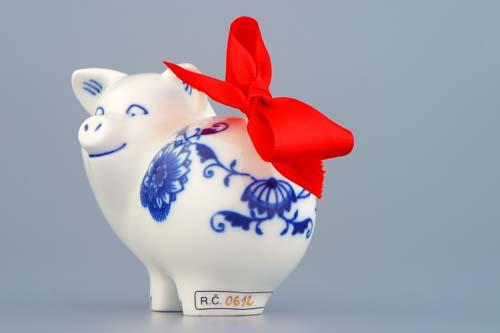 Cibulák Prasátko 8 cm originální cibulákový porcelán Dubí, cibulový vzor, 1.jakost