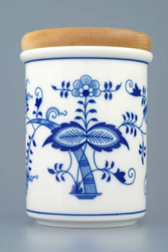 Cibulák dóza s dřevěným uzávěrem C velká 13 cm originální cibulákový porcelán Dubí, cibulový vzor, 1.jakost