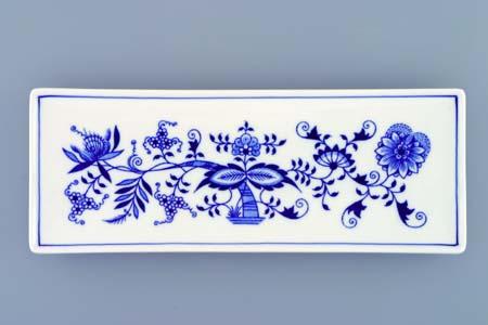 Cibulák miska na ryby plochá 27,4 cm originální cibulákový porcelán Dubí, cibulový vzor, 1.jakost