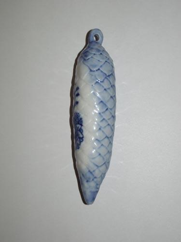 Cibulák Vánoční ozdoba šiška 11 cm originální cibulákový porcelán Dubí, cibulový vzor, 1.jakost