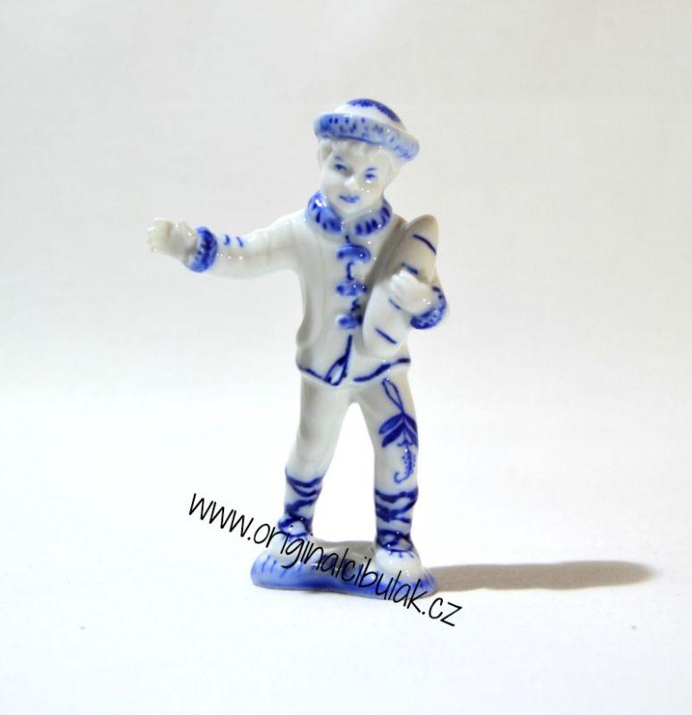 Cibulák Chlapec 10,8 cm originální cibulákový porcelán Dubí, cibulový vzor, 1.jakost