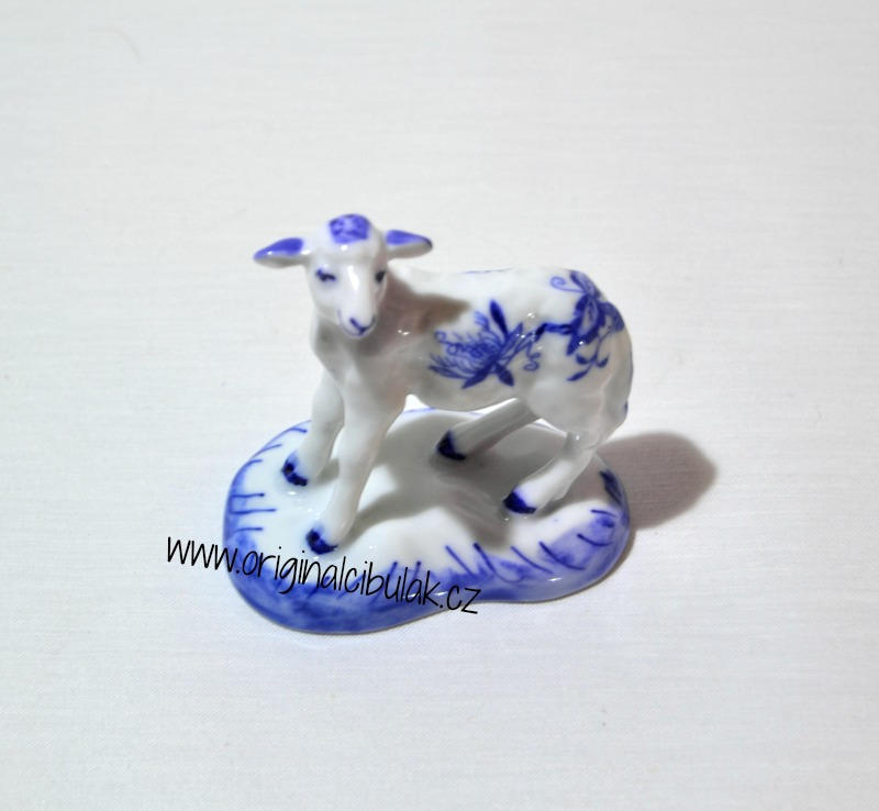 Cibulák Jehně s hlavou nahoru 6 cm originální cibulákový porcelán Dubí, cibulový vzor, 1. jakost