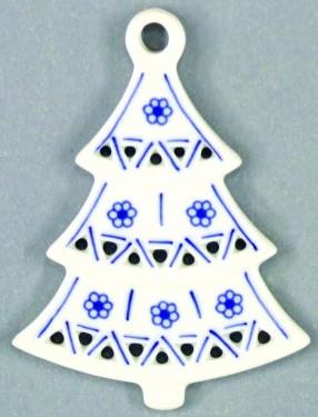 Cibulák Vánoční ozdoba stromeček prolamovaný 8,5 cm originální cibulákový porcelán Dubí, cibulový vzor, 1.jakost