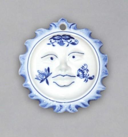 Cibulák Vánoční ozdoba sluníčko oboustranné 10 cm originální cibulákový porcelán Dubí, cibulový vzor, 1.jakost