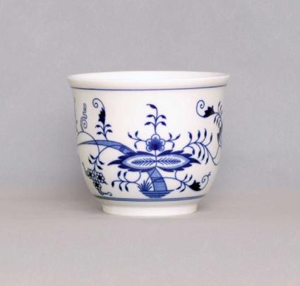 Cibulák Květináč malý bez uch 13 cm originální cibulákový porcelán Dubí, cibulový vzor, 1.jakost