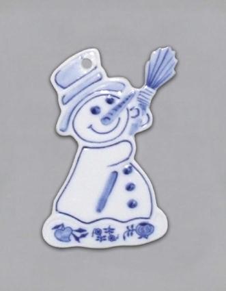 Cibulák Vánoční ozdoba sněhulák 8 cm originální cibulákový porcelán Dubí, cibulový vzor 1. jakost