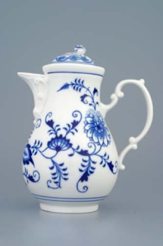 Cibulák Konvice kávová s víčkem 0,60 l originální cibulákový porcelán Dubí, cibulový vzor 1. jakost