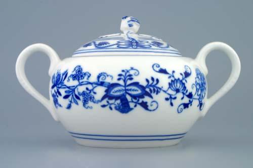 Cibulák Cukřenka s oušky s víčkem bez výřezu 0,50 l originální cibulákový porcelán Dubí, cibulový vzor 1. jakost