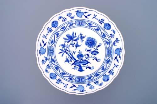 Cibulák Talíř dortový na noze 31 cm originální cibulákový porcelán Dubí, cibulový vzor 1. jakost