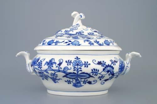 Cibulák mísa zeleninová oválná s víkem bez výřezu 1,50 l originální cibulákový porcelán Dubí, cibulový vzor 1. jakost