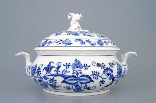 Cibulák mísa zeleninová kulatá s víkem bez výřezu 2,0 l originální cibulákový porcelán Dubí, cibulový vzor 1. jakost