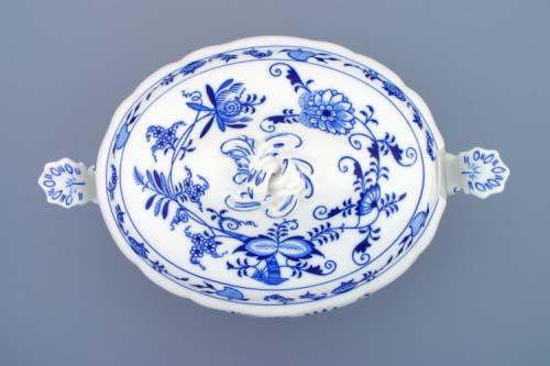 Cibulák Mísa polévková oválná s víkem s výřezem 3 l originální cibulákový porcelán Dubí, cibulový vzor 2. jakost