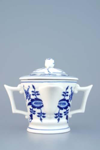 Cibulák Omáčník kulatý s víčkem 0,35 l originální cibulákový porcelán Dubí, cibulový vzor 1. jakost