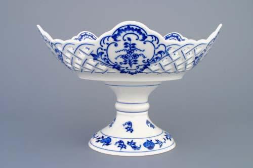 Cibulák Mísa pětihranná prolamovaná na dortové noze 24 cm originální cibulákový porcelán Dubí, cibulový vzor, 1.jakost