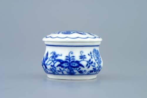 Cibulák Dóza pilulník kulatá s víčkem 5 cm originální cibulákový porcelán Dubí, cibulový vzor, 1.jakost