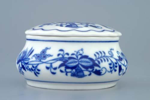 Cibulák Dóza šperkovnice kulatá s víčkem 9 cm originální cibulákový porcelán Dubí, cibulový vzor, 1.jakost