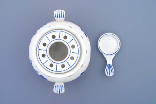 Cibulák Ohřívač komplet 14 cm originální cibulákový porcelán Dubí, cibulový vzor, 1.jakost