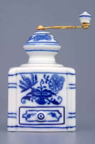 Cibulák Kávomlýnek mini komplet 8 cm originální cibulákový porcelán Dubí, cibulový vzor, 1.jakost