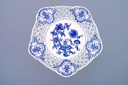 Cibulák Mísa pětihranná prolamovaná na ozdobné noze nízká 24 cm originální cibulákový porcelán Dubí, cibulový vzor, 1.jakost