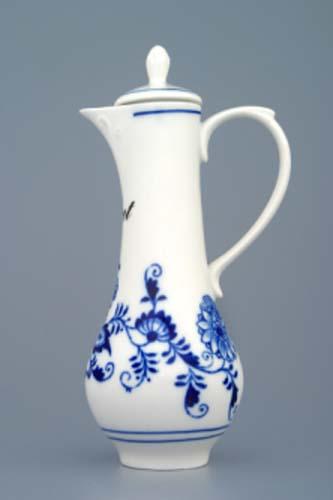 Cibulák karafka s víčkem s nápisem dle specifikace 0,35 l originální cibulákový porcelán Dubí, cibulový vzor 1.jakost