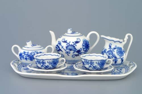 Cibulák Souprava čajovová miniaturní 410 g originální cibulákový porcelán Dubí, cibulový vzor, 1.jakost