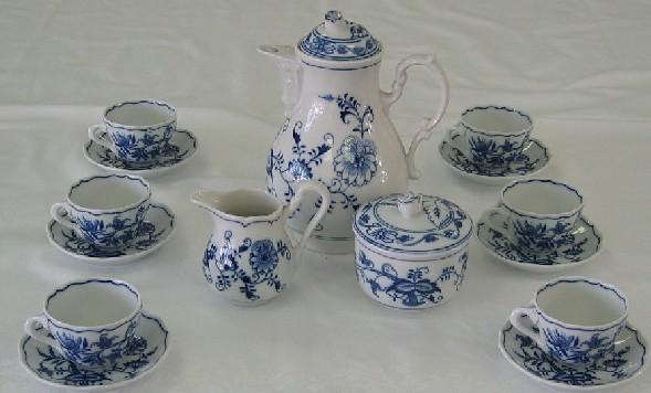 Cibuláková souprava mokka M1 - originální cibulák, cibulový porcelán Dubí 1. jakost