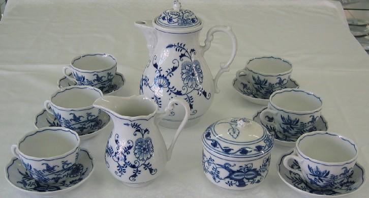 Cibuláková souprava kávová K2 - originální cibulák, cibulový porcelán Dubí 1. jakost