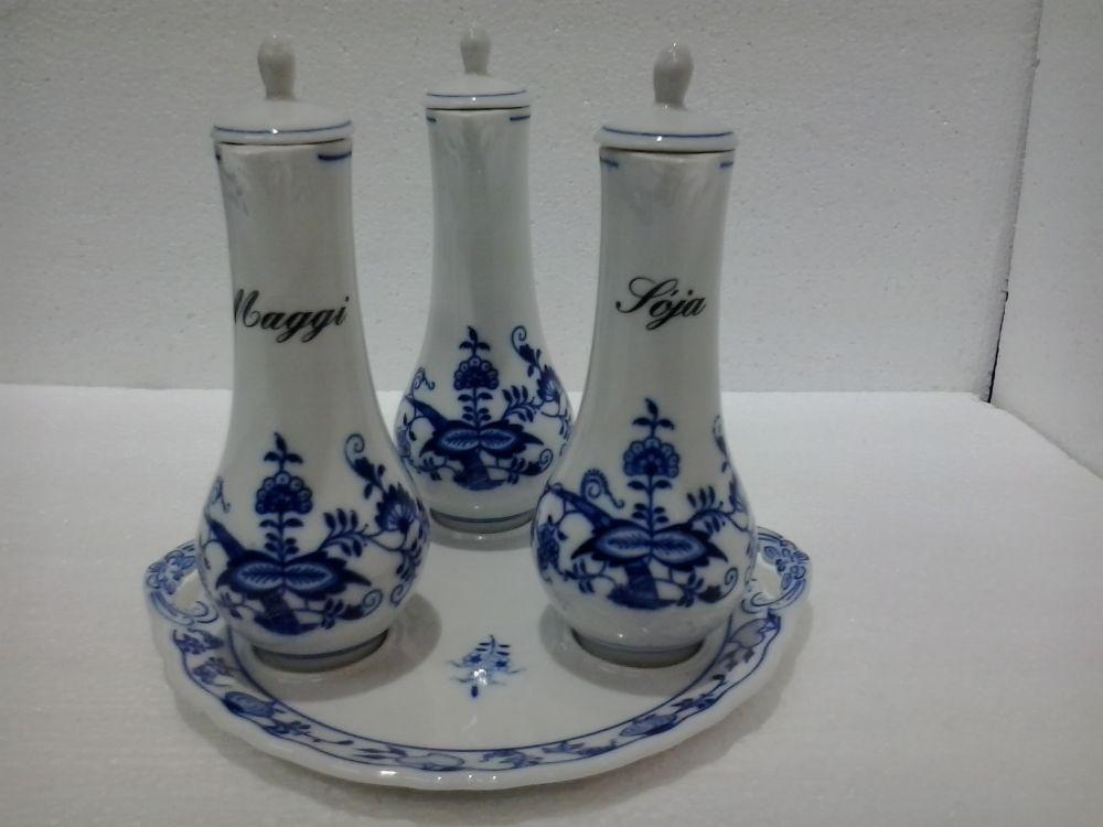 Cibulák Souprava karafová, originální cibulákový porcelán Dubí, cibulový vzor 1. jakost