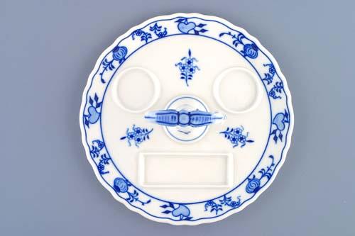 Cibulák Podnos kulatý s porcelánovým klíčem 21 cm originální cibulákový porcelán Dubí, cibulový vzor, 1.jakost