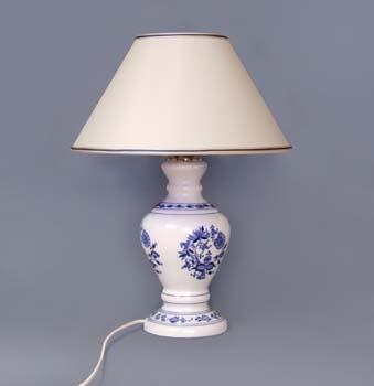 Lampa cibulák se stínítkem kašmír 42 cm originální cibulákový porcelán Dubí