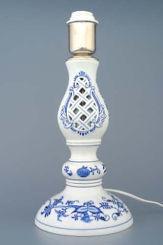 Cibulák Lampový podstavec prolamovaný s monturou 37 cm originální cibulákový porcelán Dubí, cibulový vzor 1. jakost