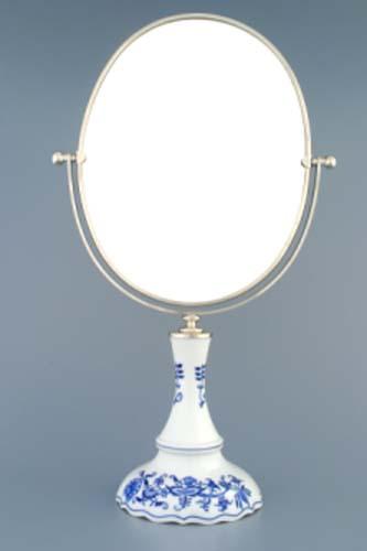 Cibulák Zrcadlo oválné otočné oválné ve stříbrném rámu 48 cm originální cibulákový porcelán Dubí, cibulový vzor 1. jakost