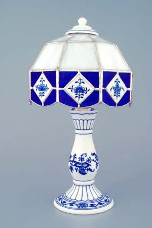 Cibulák Noční lampička vitráž 30 cm originální cibulákový porcelán Dubí, cibulový vzor 1. jakost