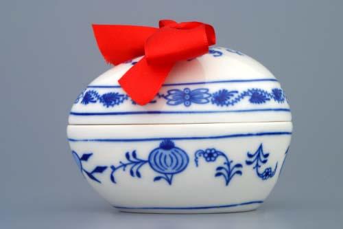 Cibulák Vajíčko s překvapením 9,5 cm originální cibulákový porcelán Dubí, cibulový vzor, 1.jakost