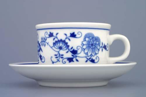 Cibulák šálek +podšálek Ben M+ Ben M 0,23 l originální cibulákový porcelán Dubí, cibulový vzor, 1.jakost