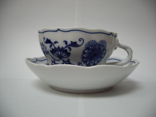 Cibulák šálek + podšálek D+D balení po 1kuse 0,35 l originální cibulákový porcelán Dubí, cibulový vzor, 1.jakost
