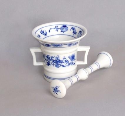Cibulák Hmoždíř s tloukem 10 cm originální cibulákový porcelán Dubí, cibulový vzor 1. jakost