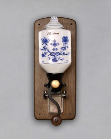 Cibulák Mlýnek závěsný na kávu II. s nápisem Káva 35 cm originální cibulákový porcelán Dubí, cibulový vzor 1. jakost