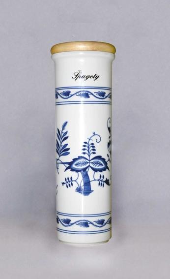 Cibulák Dóza na špagety s nápisem Špagety 28,5 cm, originální cibulákový porcelán Dubí, cibulový vzor, 1.jakost