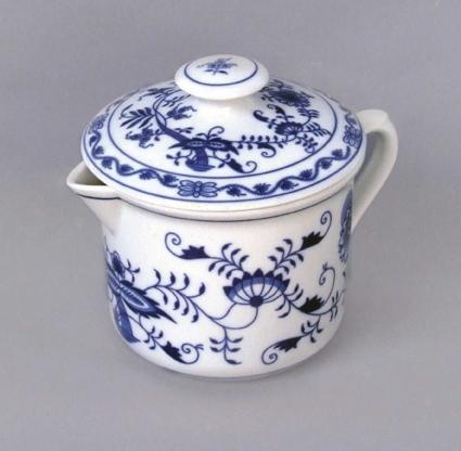 Cibulák Hrnek Vařák velký s hubičkou a víčkem 0,90 l originální cibulákový porcelán Dubí, cibulový vzor, 1.jakost