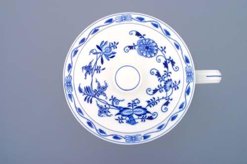 Cibulák Hrnek Český s 1 uchem s víkem bez výřezu 3,0 l, originální cibulákový porcelán Dubí, cibulový vzor, 1.jakost