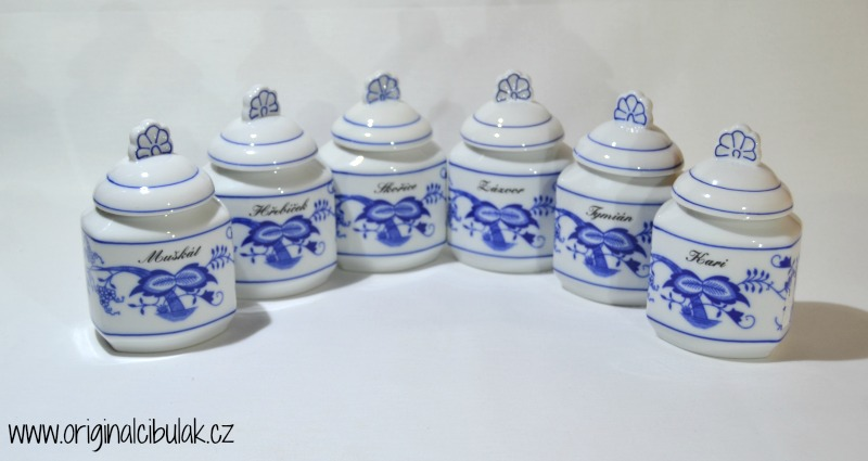 Cibulák Souprava 6 kořenek - rozšířená řada, originální cibulákový porcelán Dubí , cibulový vzor, 1. jakost