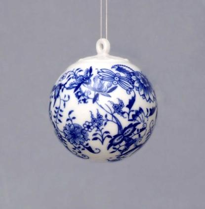 Cibulák Vánoční koulička 5,8 cm originální cibulákový porcelán Dubí, cibulový vzor 1. jakost