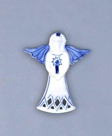 Cibulák Vánoční ozdoba anděl svíce 11 cm originální cibulákový porcelán Dubí, cibulový vzor, 1.jakost