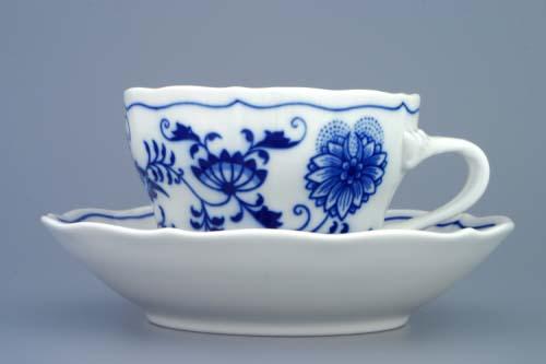 Akce-50%, Cibulák Šálek a podšálek C+C, 0,25 l, originální cibulákový porcelán Dubí, cibulový vzor, šálek 2.jakost, podšálek 1. jakost