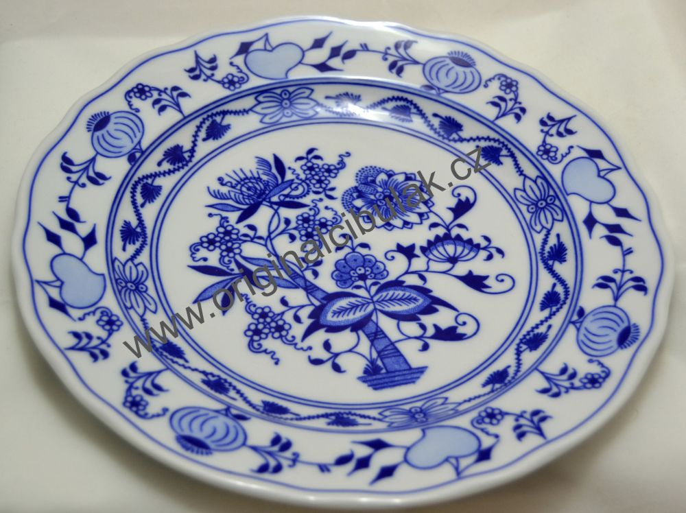 Talíř cibulák mělký 24 cm originál cibulový porcelán Dubí 2.jakost