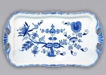 Cibulák podnos Aida obdélníkový na noze 15 cm, originální cibulákový porcelán Dubí, cibulový vzor, 1.jakost