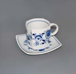 Cibulák šálek + podšálek Vito zrcadlový podšálek 0,21 l originální cibulákový porcelán Dubí, cibulový vzor, 1.jakost