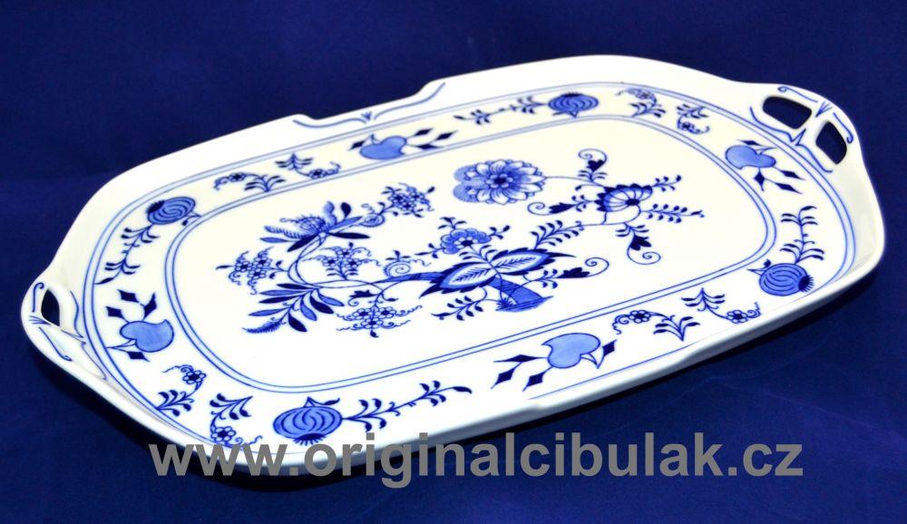 Cibulák podnos čtyřhranný s uchy 38 cm, originální cibulákový porcelán Dubí, cibulový vzor, 1.jakost